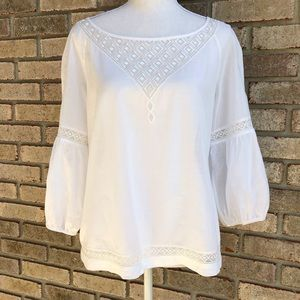 Gianni Bini cotton embroidered bell sleeve blouse